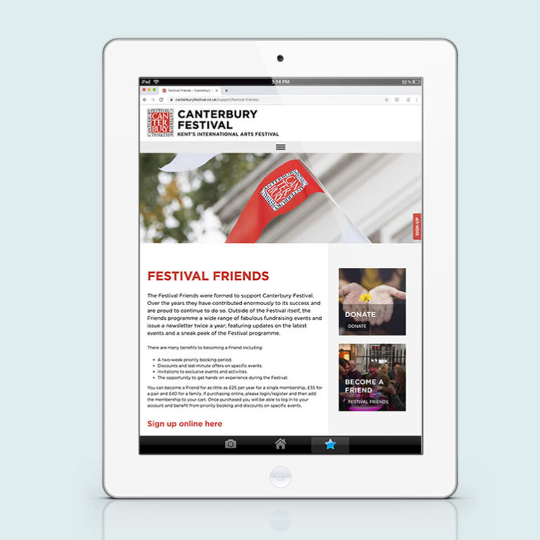 Canterbury Festival website - portrait ipad view