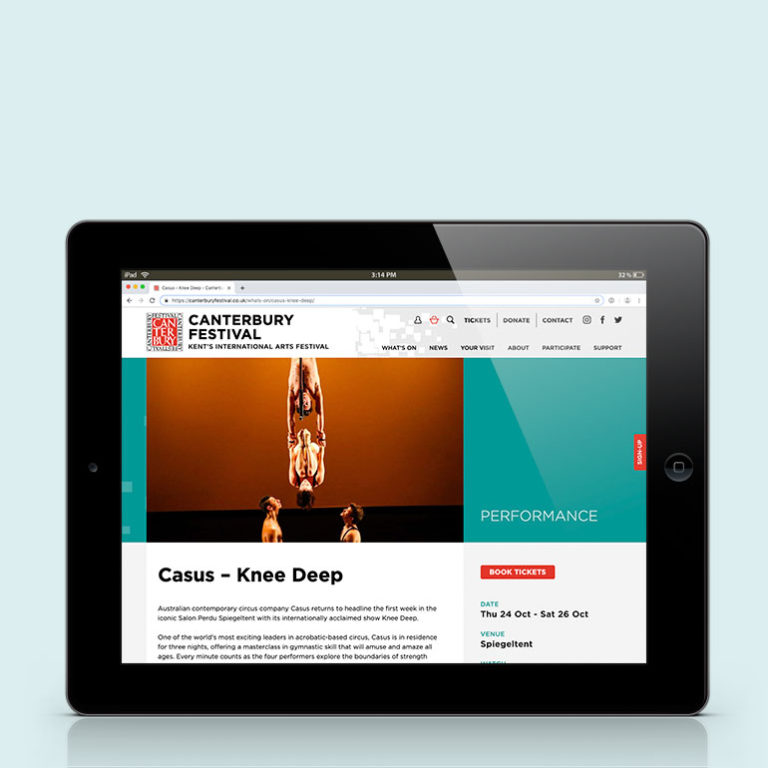 Canterbury Festival website - ipad landscape view