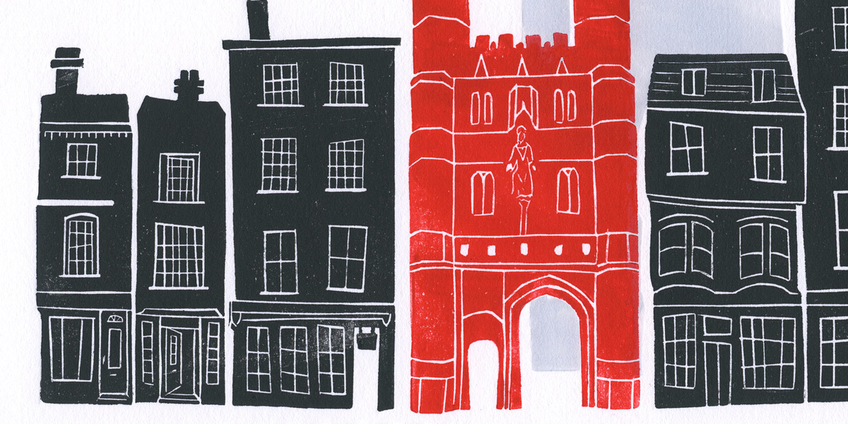 Canterbury lino cut detail