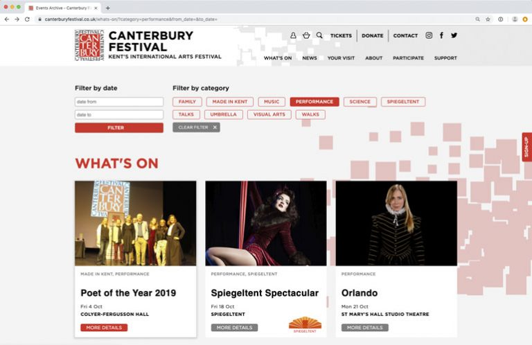 Canterbury Festival website view
