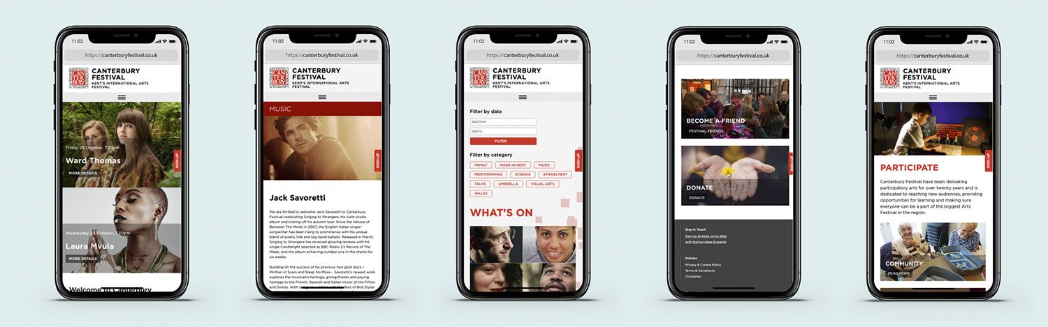 Canterbury Festival website on mobile